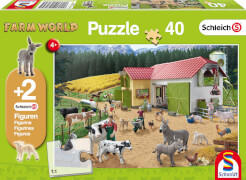 Schmidt Puzzle 56189 Schleich, mit zwei Figuren, Ein Tag auf dem Bauernhof, 40 Teile, ab 4 Jahre